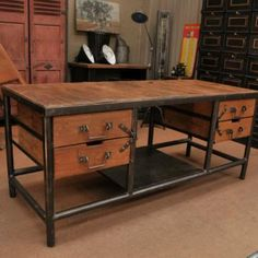 industrial office desk, blanc wood maybe | office. | pinterest