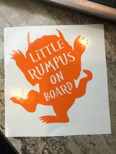 Little Rumpus On Board car decal, Rumpus, Where The Wild Things Are, Baby on Board, Baby Decal, Unique baby on board decal