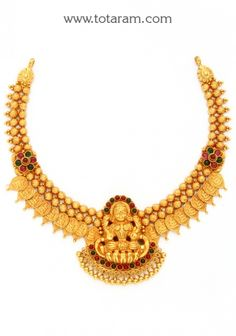 22K Gold 'Lakshmi' Necklace (Temple Jewellery): Totaram Jewelers: Buy Indian Gold jewelry & 18K Diamond jewelry