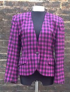 Vintage 1980s Christian Dior Glam Purple/Black Lined Wool Jacket UK 10/12/14