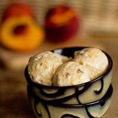 Peach Pecan Ice Cream made with 5 ingredients and no cooking