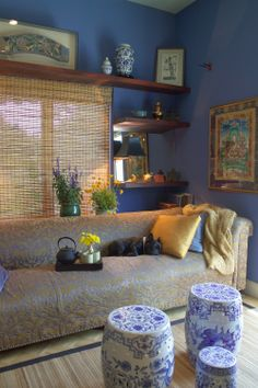 Blue Dragon 810 by Benjamin Moore.   .   .   .   .   .   Love the upholstery with the wall color