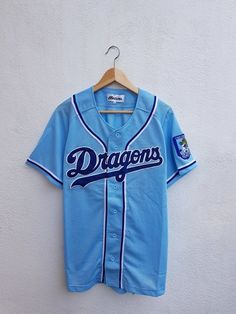 68a8d7a0d Vintage 90s Mizuno Nippon Professional Baseball MLB Chunici Dragons  Embroiderd Logo Jersey Shirt Size M-L Nippon