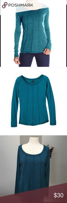"New Listing! PrAna Charissa Top PrAna Charissa long sleeve in mosaic blue- blue/teal color. Made of 30% wool/70% acrylic. Raw edge detailing accentuated by contrast coverstitch at neck, sleeves, hem and center front and back seams. Excellent condition. Size XL -20"" across chest and 26"" long. Prana Tops Tees - Long Sleeve"