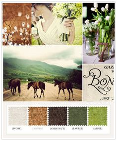 I know this is set for a wedding - but I like this for my Master Bedroom - Green, Brown, Inspiration Board, Rustic Colors Wedding Color Schemes, Colour Schemes, Color Combos, Wedding Colors, Wedding Ideas, Color Trends, Wedding Planning, Wedding Inspiration, Green Colour Palette