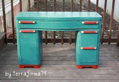 Stylish Mid Century Desk Teal with a Cherry Red by terrafirma79, $349.00