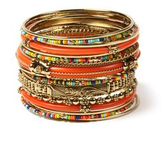 Monaco Bangle Set ($60) ❤ liked on Polyvore featuring jewelry, bracelets, colorful jewelry, amrita singh bangles, beading jewelry, bangle bracelet set and beaded jewelry