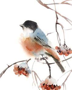 Watercolor Bird, Watercolor Animals, Watercolor Landscape, Watercolor Paintings, Painting Art, Bird Paintings, Japon Illustration, Watercolor Illustration, Bullfinch