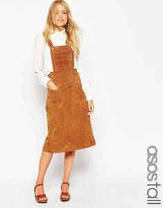 ASOS TALL Midi Skirt in Suede with Pinafore Bodice