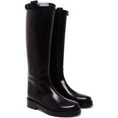 Ann Demeulemeester Leather Riding Boots (1,545 CAD) ❤ liked on Polyvore featuring shoes, boots, almond, genuine leather riding boots, real leather knee high boots, ann demeulemeester boots, ann demeulemeester and equestrian boots