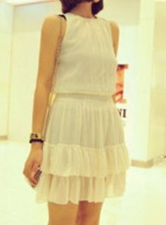 #SheInside White Round Neck Sleeveless Cascading Ruffle Chiffon Dress