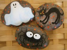 Painted rocks  Spooky Halloween Trio by PlaceForYou on Etsy, $20.00