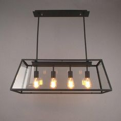 Loft Pendant Lamp Retro American Industrial Black Iron Rectangular Chandelier Living Room Dining Room Office Light Fixture - ALL ABOUT Dining Room Office, Luxury Dining Room, Living Room Kitchen, Dining Rooms, Luxury Living, Loft Kitchen, Industrial Light Fixtures, Industrial Dining, Industrial Lighting