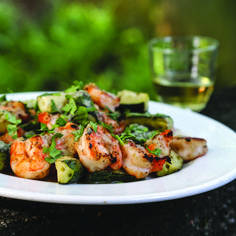Shrimp and Cucumber Skewers. Recipe from Chef Steven Satterfield of Miller Union, Atlanta, GA. Photo by Angie Mosier.