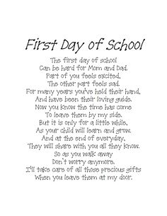 This Is The Poem I Was Given On My Sons First Day Of Kindergarten