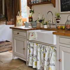wooden counters, sink, tiles