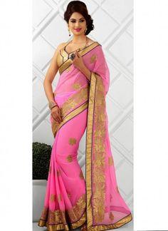 Sparkling Baby Pink Chiffon Saree