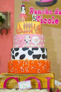 LOVE THIS CAKE!! Cowgirl Themed Birthday Party with Tons of Fabulous Ideas via Kara's Party Ideas | KarasPartyIdeas.com #Cowgirl #Cowboy #Farm #Barnyard #Party #Ideas #Supplies