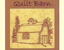 Quilt Barns Railroad Crossin - Redwork Hand Embroidery Pattern - by Beth Ritter - Instant Digital Download