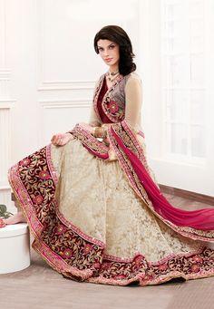 Light Beige Net Jacquard and Satin Lehenga Choli with Dupatta Online Shopping: LXW35