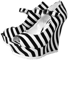 Black & White striped platforms #Sourpuss US$34 {Also comes in lime & black}