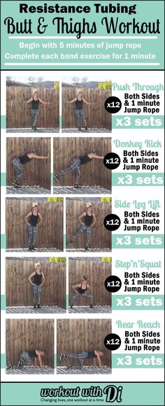 Resistance tubing workout for the butt and thighs! Workout at home, gym, hotel room, beach, park or anywhere.