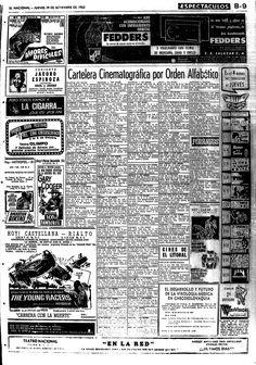 Cartelera cinematográfica de septiembre en 1963 por orden alfabético. Publicado el 19 de septiembre de 1963.