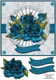 Teal Rose Card Front