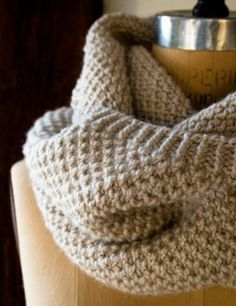 Classic Cowl | Texture of this knit stitch is great. Similar to woven style crochet stitch.