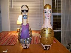 the dude and maude. Bowling Pins, Bowling Ball, Airbrush, Art Projects, Promotion, Upcycle, Gadgets, Carving, Concept