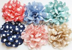 6 Polka Dot Shabby Flowers 3 inch  Wholesale by HairbowSuppliesEtc, $6.00