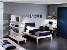 Black and White Bedroom Design Ideas with white bed and black bed sheet including white study desk and chair also freestanding white bookshelves plus gray bedroom wall