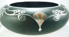 "ANTIQUE ART DECO STERLING SILVER OVERLAY BLACK SATIN GLASS ENAMEL 8 3/4"" BOWL"