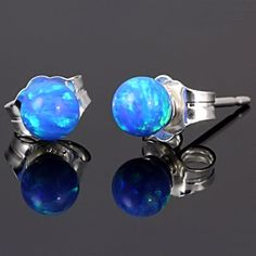 In Style! In Trend! In Fashion! Oceans: 4mm Caribbean Blue Opal Ball Stud Post Earrings 925 Silver, $18