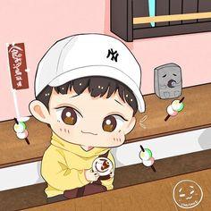 Exo Cartoon, Exo Stickers, Exo Anime, Nct, Exo Fan Art, Xiuchen, Baby Dinosaurs, Bts And Exo, Cute Chibi