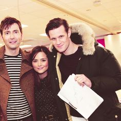 Jenna Louise Coleman with actual giants Matt Smith and David Tennant