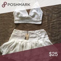 Short white top w/ mini white skirt Short white top w/ white mini skirt Dresses Mini