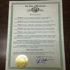 Washington Governor Jay Inslee's proclamation recognizing Diaper Need Awareness Week (Sept. 28 - Oct. 4, 2015) #DiaperNeed www.diaperneed.org