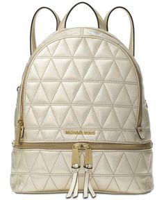 b04a6ae5fa695c Michael Kors Rhea Medium Metallic Quilted Leather Backpack Bookbag, Pale  Gold