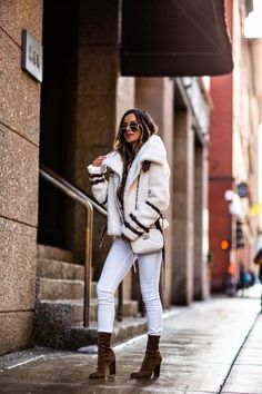 20 FEB, 2018 15 Ankle Boots For Transitioning To Spring - Outfit Details: Revolve Shearling Moto Jacket H&M Lace-Up Sweater DL1961 White Pants Dior Addict Lipstick Similar Gold Aviator Sunglasses Gucci GG Marmont Mini Bag Alexander Wang 'Gia' Booties