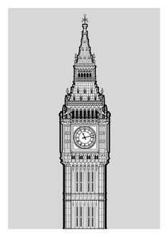 A digitally rendered, monochrome architectural drawing study of Big Ben (now officially the Elizabeth Tower), London  © Mike Hall