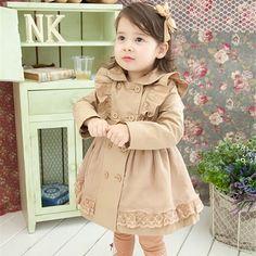 Adorable Dress Coat www.thetickletoe,com Winter Kids, Baby Winter, Baby Outfits, Kids Outfits, Baby Girl Fall, Baby Girls, Toddler Girls, Girls Trench Coat, Kids Blouse Designs