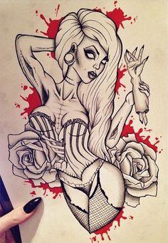 Pin up zombie girl tattoo