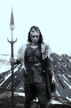 Teàrlag Mormont with her spear, Blutgang (blood-fetcher) • Olga Kurylenko as Etain in Centurion (2010)