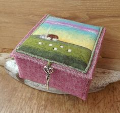 Harris Tweed and Felt Box with Cottage and by AileenClarkeCrafts, £35.00