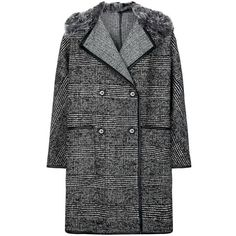 MaxMara Weekend Check Boyfriend Coat ($720) ❤ liked on Polyvore featuring outerwear, coats, double-breasted coat, black double breasted coat, shawl collar coat, black coat and boyfriend coat