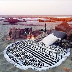 The perfect setup. Our round towels are perfect for the beach, picnic or around the house. Visit towelpalace.com for more!