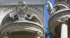 Details of the portico designed by Gian Lorenzo Bernini with the Pamphilj's coat of arms at the Sant'Andrea al Quirinale, Rome. Gian Lorenzo Bernini, Sculptures, Lion Sculpture, Coat Of Arms, Rome, Santa, Sketches, Italy, Statue