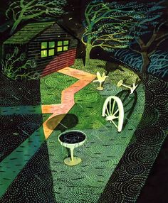 """The Garden,"" by Brecht Evens -- I LOVE this! The peril, the angles, the color, its Cubist influences!"