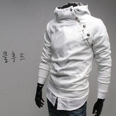 Bias-cut Zip up Hoodie with buttons on the chest SH24 mens clothing mens shirts mens clothing Wizikorea